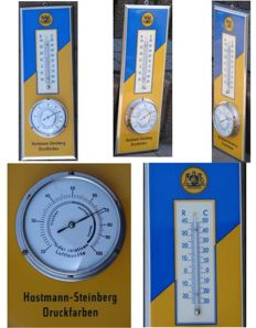 Hostmann – Steinberg Druckfarben - Metal Sheet Advertisement with Barometer and Thermometer