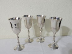 Four Solid Carved Silver Plated Goblets, Portugal ca. 1950's