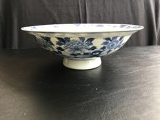 Blue and white porcelain bowl with an edge which is folded outward, marked - China - 19th century