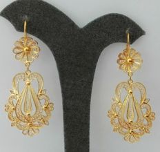 19.2kt - Gold Portuguese Filigree Earrings - 7.8g - 4.5cm x 2.2cm + hook