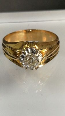 Solitaire ring - Gentlemen - 18 kt gold - Beautiful diamond of 0.94 ct - IGE certificate
