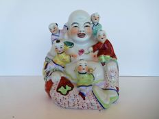 Chinese porcelain happy laughing Buddha with five children  statue figure - China - second half 20th century