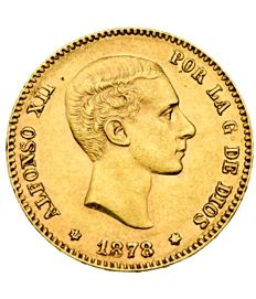 Spain - Alfonso XII - 25 pesetas gold coin - 1878 - Madrid. DEM