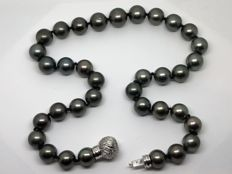 Large Tahiti Pearl Necklace with Grey/Green/Bronze shades and Grey Gold Clasp with Diamonds.