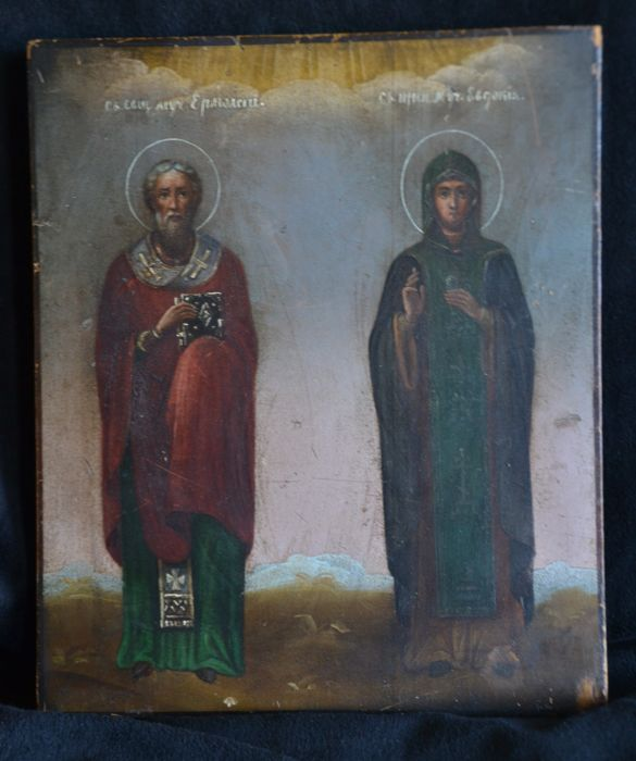 Russian icon of the Holy bishop Epiphanos and Saint Eudokia - late 19th century