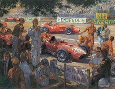 Art print - Ferrari Monaco GP 1965 oil painting reprint on canvas