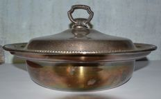 Large pan in silver metal, England - c. 1950