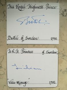 cerificated autographs of Prince Bertil and Princess Lilian of Sweden -- Prince Peter and Princess Irene of Greece and Denmaark
