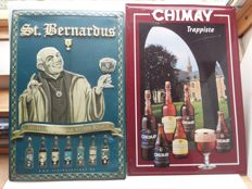 Old tin beer advertising for St Bernardus and Chimay - 1989 1992