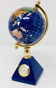 Lapis lazuli Mapmundi clock plated in 24 kt gold - Late 20th century
