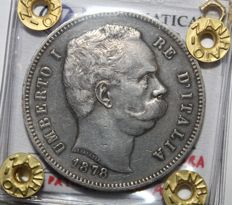 Kingdom of Italy - 5 Lire 1878 Umberto I - Silver