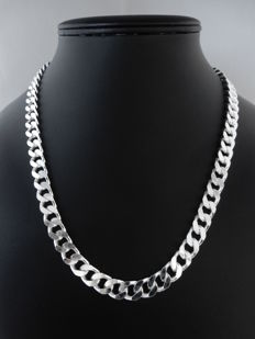 Heavy, silver, curb necklace