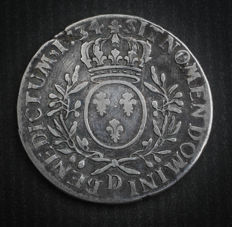 France - Louis XV (1715-1774) - Ecu with olive branches 1734 D (Lyon) - Silver