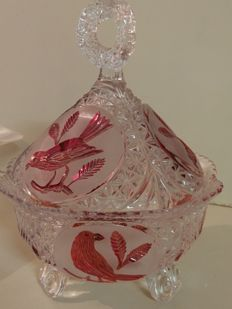 Crystal centrepiece candy bowl with goose in artistic glassware
