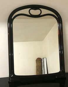 Large framed wall mirror in curved oak wood - Italy - mid-20th century