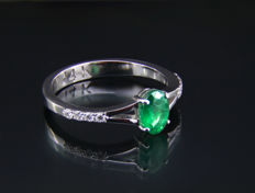 14kt Gold ring with emerald and 0.11ct diamond. *Free shipping* *Free resizing*.