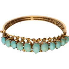 18 kt g – Yellow gold bangle set with turquoise – Diameter:  5.5 cm