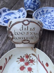Collection of bowls artefacts Delft - (5)