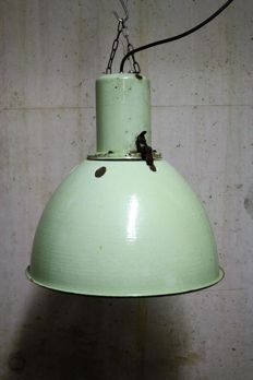 Designer unknown - vintage, green enamel factory light