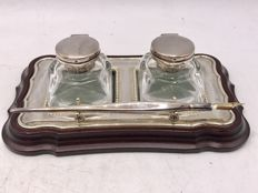 English silver ink set with crystal pots and silver fountain pen - Carrs of Sheffield - 1996
