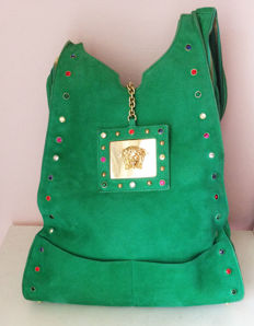 Gianni Versace - Green Suede Bag Green -  Colored Swaroski Crystal  - Medusa Gold Buckle - Rare - Collector's piece
