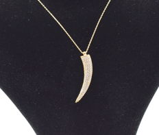 14 carat yellow gold necklace  with  pendant - 42 cm