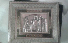 Qalam Zani depiction in Khatam frame. Three wise men in copper - Iran - end 20th century (45 cm)