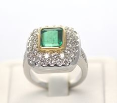 18ct Bi Colour Gold Emerald 1.67ct & Diamond 2.16ct . Size N ,14 ,54