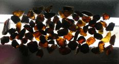 Lot of beautifull Whiskey colored Amber - Blue translucent - 500g (75)