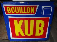 Superb large enamelled plate for KUB Bouillon - 100 cm X 100 cm