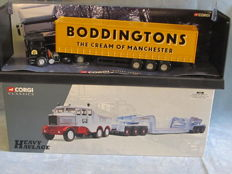 Corgi - Scale 1/50 - Scammell Contractor 'Hills of Botley' & ERF Curtainsider 'Boddingtons'
