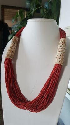 Vintage necklace of WIRE of coral Sciacca circa 1970