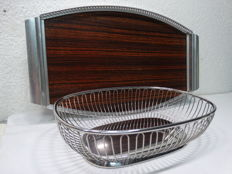 Alessi - stainless steel bread basket --- MB Italy - retro tray