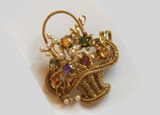 Pendant / brooch flower basket made of gold 585 / 14 kt with natural ruby, tourmaline, citrine, amethyst and pearls