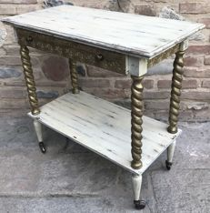 Wooden tea trolley of the 1960s, restyled and white and gold painted in the 1990s - France