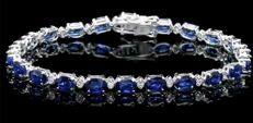 No Reserve Price!-19.97ctw Natural Sapphire and Diamond Bracelet in 14K white gold