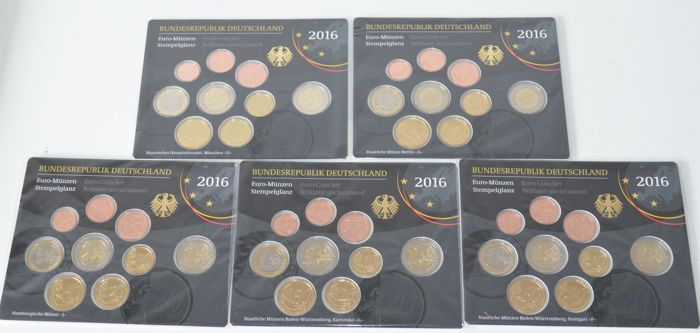 Germany - Year packs Euro coins 2016 A, D, F, G, J (5 packs) complete