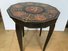 Italian sewing table with Intarsia, Italy, mid-20th century.