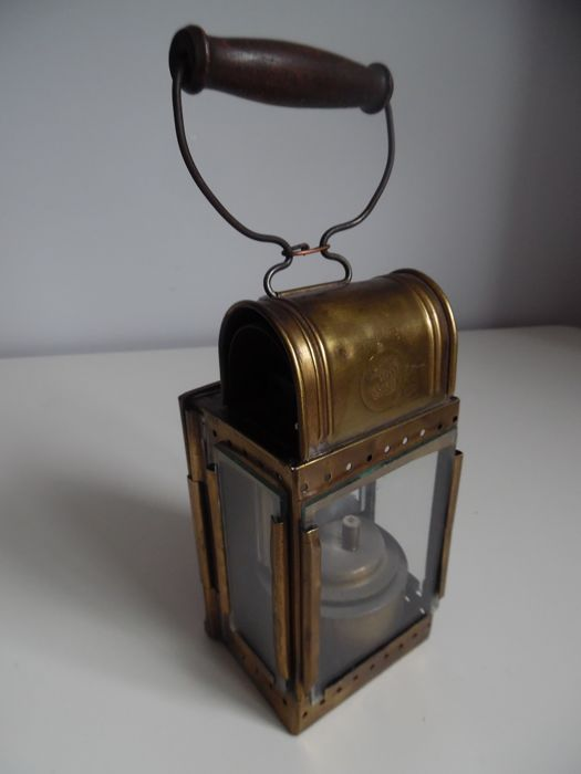 Antique carbide train lamp of the Belgian Railways Orlians and Co
