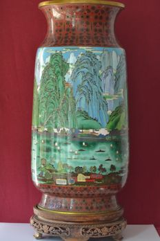 Large cloisonné jar ( 62cmx25cm)  industrial scene - China - circa 1950-60