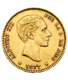 Spain – Alfonso XII – 25 pesetas gold coin – 1877 – Madrid DEM.