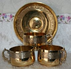 Rare sterling silver teacup set, Minerva's head hallmark 1st grade - master silvermith: François Léon, 1890  Paris, silver entirely coated in gold plate (vermeil)