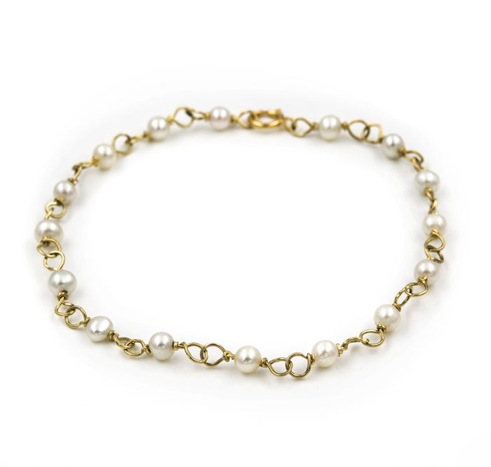 Yellow gold of 750/1000 (18 kt) - Bracelet - Pearls of 4.00 mm - Length 19 cm