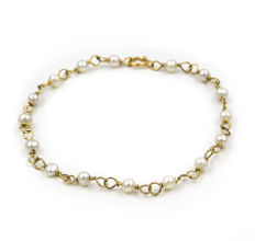 750/1000 (18 kt) yellow gold - Bracelet - Akoya pearls of 4 mm (approx.)