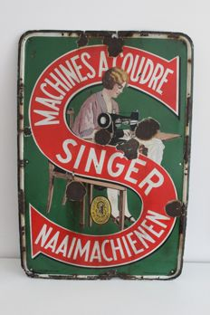 Antique enamel advertising sign Singer-1935