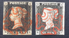 Great Britain 1840 - Stanley Gibbons 1 and 3, 1d Intense black and grey black