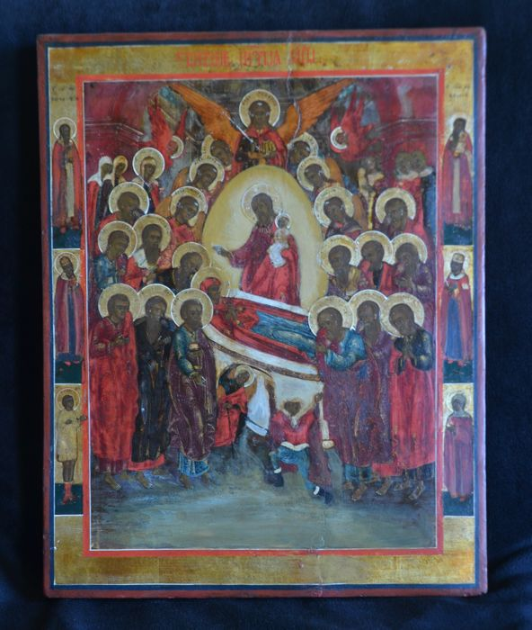 Large icon Dormition Mother of God with six edge-Saints - Russia - second half 19th century
