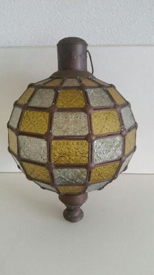 Old Brass Hanging Lamp with dozens of Glass Panels (Copper and glass)