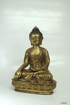 Large statue Buddha bronze - China/Tibet - Late 20th century