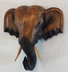 Hardwood head of an elephant - beautifully crafted wall decorations